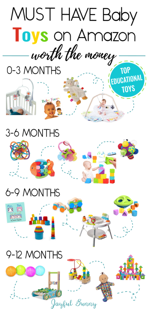 20 MUST HAVE Baby toys that are educational and worth the money. All found conveniently on Amazon.com, these toys are perfect for your developing baby or baby registry.